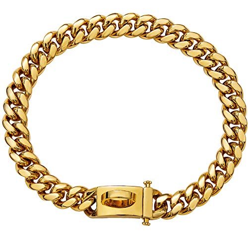 18K Gold Dog Collar Choker Necklace with Stainless Steel Buckle,Strong 316 Stainless Steel Metal Cuban Link Chain Dog Training Choke Collar for Small Medium Large Dogs (12inch, Gold)