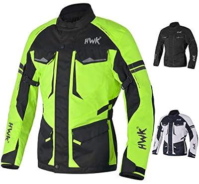 Adventure/Touring Motorcycle Jacket For Men Textile Motorbike CE Armored Waterproof Jackets ADV 4-Season (Hi-Vis Green, L)