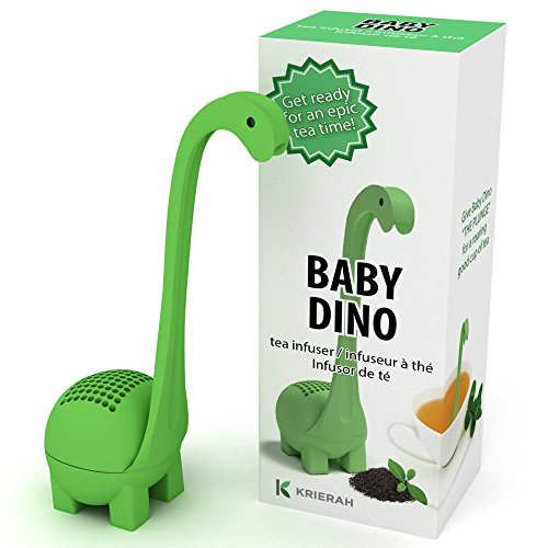 Baby Dino Loose Leaf Tea infuser with Long Handle Neck & Cute Ball Body. Not Nessie or t rex it's a deep diver. Green Dinosaur Silicone Tea Strainer & Steeper - FREE Ebook