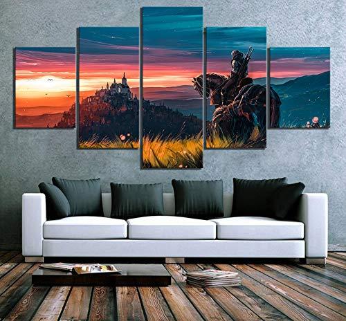 BOYH Drucke auf Leinwand 5 Stück The Witcher 3 Wild Hunt Spiel Poster HD Moderne Wandkunst Zuhause Dekorationen,B,30×50×2+30×70×2+30×80×1