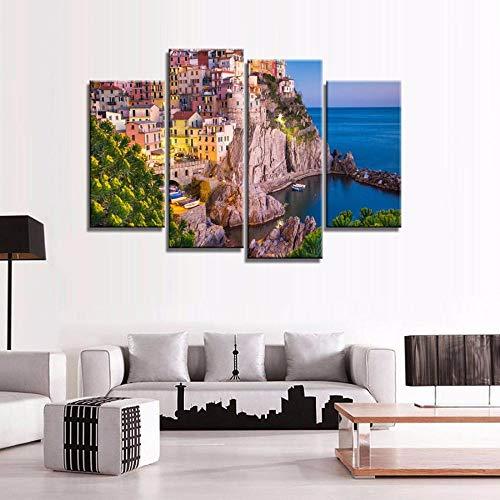 ANTAIBM® 4 Visuelle Fotos der Inneneinrichtung Holzrahmen - verschiedene Größen - verschiedene Stile4 Stück Druck Ölgemälde Wandkunst, Wanddekoration, Wandmalerei Italien Sonnenuntergang Vertikale Mal