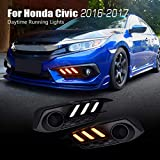 For Honda Civic 10th 2016 2017 Sedan LED DRL Daytime Running Lights Assembly Driving Lamp Kit with Turn Signal Lights(Fog Lights not Included)