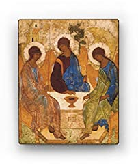 The Orthodox icon of the Trinity by Andrei Rublev, a masterpiece of Christian art. Сhristian gift for woman, religious gift for man, gift for confirmation, gift for baptism Inspirational wall art, suitable for Christian decor and religious wall decor...