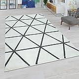 Paco Home Alfombra Salón, Modernos Colores Pastel, Estilo Escandinavo, Motivo De Rombos, tamaño:60x100 cm, Color:Antracita Blanca