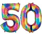 DIWULI, gigantescos globos de número XXL, número 50, globos Crazy Rainbow, número de globos de arco iris, globos de papel de aluminio número no años, globos de papel de aluminio para el 50º cumpleaños