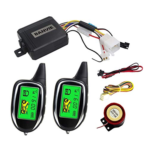 BANVIE 2 Way Anti-Theft Motorcycle Security Alarm System with Two LCD Transmitters Remote Engine Start Built in Motion Sensor & Shock Sensor