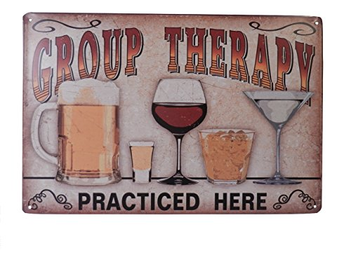 Strosportsandtech Beer Alcohol Drinking Group Therapy Funny Tin Sign Bar Pub Diner Cafe Wall Decor Home Decor Art Poster Retro Vintage