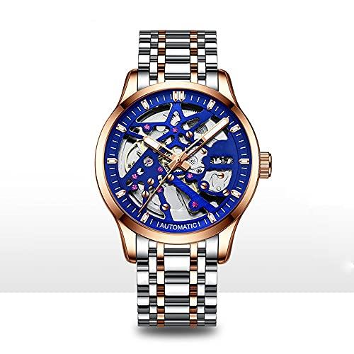 La Moda Relojes Hombre, Negocios Cuarzo Simulado,Relojes De Pulsera Cronografo Diseñador Impermeable ,Acero Inoxidable Cinturón De Malla Relojes De Pulsera (Color : Blue)