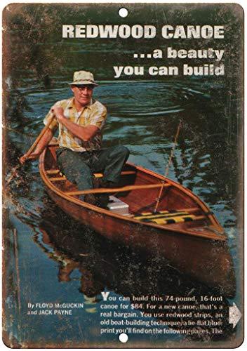 Redwood Canoe Boat Blechschild Retro Blech Metall Schilder Poster Deko Vintage Kunst Türschilder Schild Warnung Hof Garten Cafe Toilette Club Geschenk