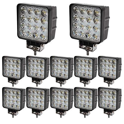 BRIGHTUM 48W 4.3 inch 4560LM phare de travail LED lampe voiture SUV ATV tracteur pelleteuse camion grue 4x4 Work light Lampe à LED pour véhicule tout-terrain 12V 24V Lumière(12 pièce)