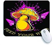 ECOMAOMI 可愛いマウスパッド キノコではなく知識で頭を養う 滑り止めゴムバッキングマウスパッドノートブックコンピュータマウスマット