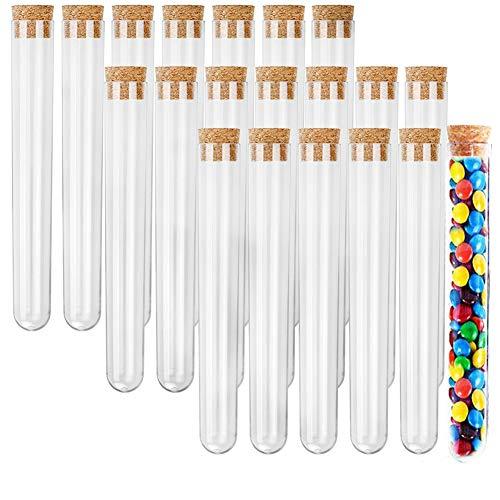 20 Piezas,Tubos Ensayo,Tubos de Ensayo de Plástico,20ml Tubos de Ensayo,Tubos De Ensayo Transparentes,Tubos de Ensayo con Tapón.