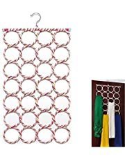 OxbOw® 28 Slots Scarf/Dupatta Hanger Organiser (Multicolour, 72 x 36 cm) Multi Purpose 28 Rings Foldable Hanger for Ties, Scarfs, Belts (1)