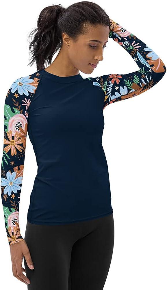 SixTriple8 Women's Long Sleeve Floral Navy Blue Rash Guard UPF 38–40