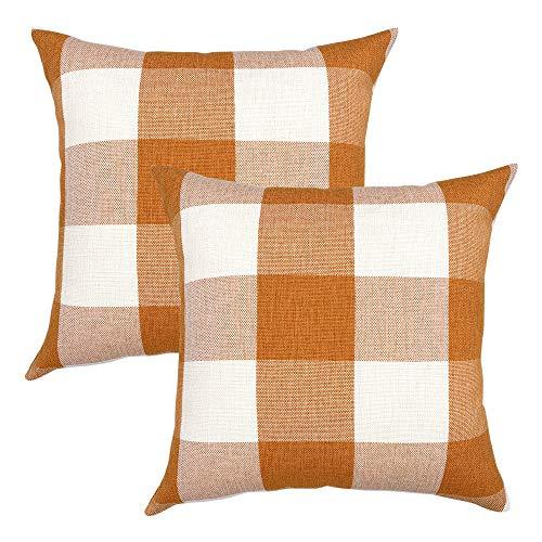YOUR SMILE Retro Farmhouse Buffalo Tartan Chequer Plaid Cotton Linen Decorative Throw Pillow Case Cushion Cover Pillowcase for Sofa Bed,Set of 2 (Orange, 18''x18'')