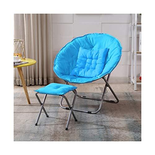 KKLL Silla Plegable Perezosa Luna Silla para el Sol Dormitorio de Estudiantes Silla Redonda Silla de Ocio Moon Chair (Color : Blue)