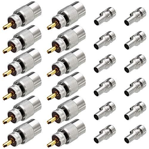 Greluma 12 Piezas PL259 Conectores Coaxiales, Conectores de Soldadura UHF Macho con Reductor UG-175 para RG-58, RG-213, LMR195, RG142