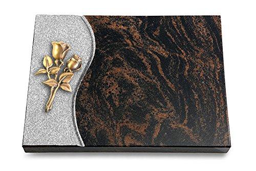 MEMORUM Grabmale Grabtafel, Grabplatte, Grabstein, Grabkissen, Urnengrabstein, Liegegrabstein Modell Wave 40 x 30 x 3-4 cm Aruba-Granit, poliert inkl. Gravur (Bronze-Ornament Rose 11)