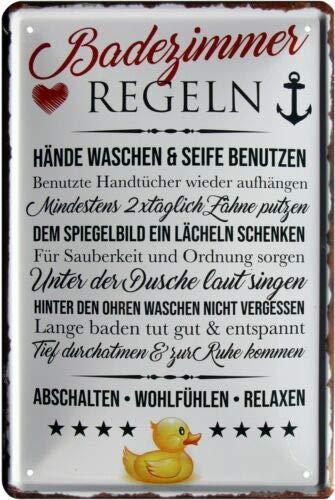 Badezimmer Regeln Bad 20x30 cm Blechschild 1065