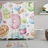 EricauBird Sweet Delicious Macaron Cupcakes Donuts Muffins Sugar leckere Wasserfarben Design Duschvorhang mit Ringe Polyesterstoff Duschvorhang mit Haken Bad Badezimmer Dekor
