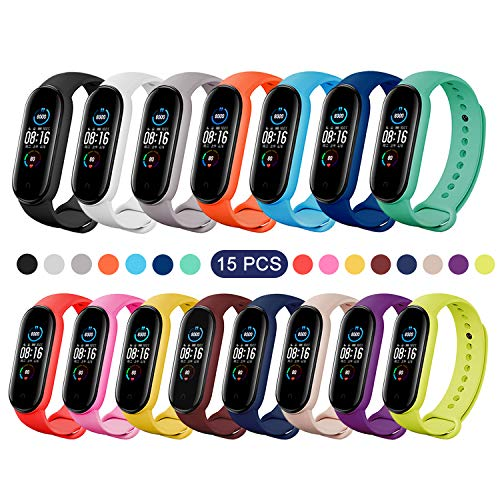 BDIG Pulsera Correas para Xiaomi Mi Band 5,  Colorido Suave Silicona Pulsera Impermeable,  Pulsera Correa para Xiaomi Mi Band 5,  15PCS