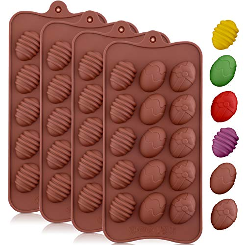 Jovitec 4 Pieces Easter Egg Chocolate Mold Easter Candy Cookie Mould Silicone Baking Mold for Party Jelly, Ice Cube