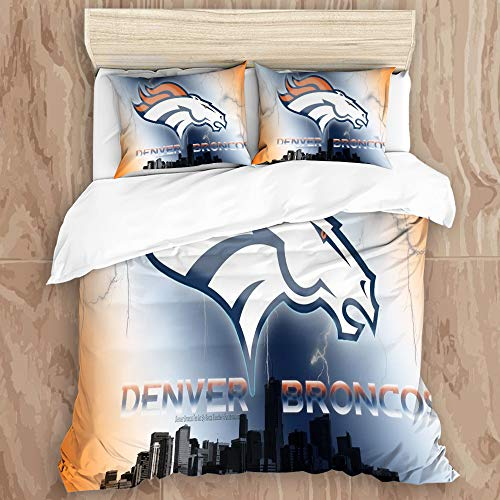 SKAERGI Amandasgqz Bedding Sets Bedspread, Denver Br-on-cos Logo 3D Print 2Decorative Quilted 3 Piece Coverlet Set with 2 Pillow Shams, Kings Size