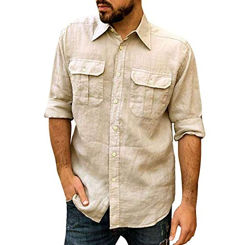 Camisa de Manga Larga con Solapa para Hombre Color sólido Casual Tendencia cómoda Camisas básicas clásicas de un Solo Pecho M