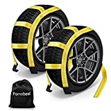 fomobest Car Tow Dolly Basket Straps with Flat Hooks 2 Pack Universal Wheel Straps for 14