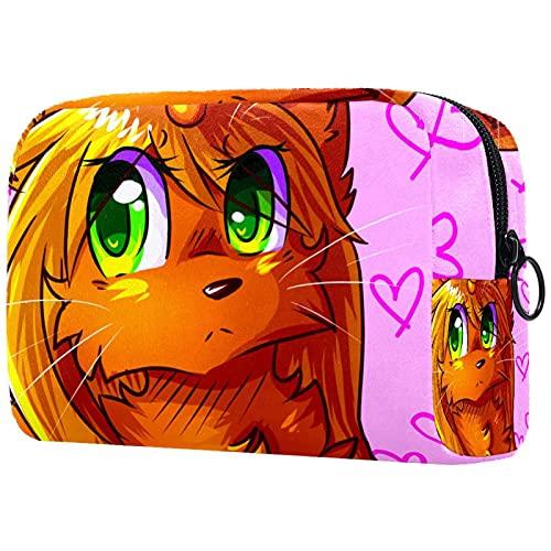 Chibi Cat Unicorn Anime Bolsa de maquillaje para bolso de viaje Neceser organizador de cosméticos portátil versátil con cremallera para mujeres y niñas