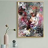 HHLSS Póster de Arte 50x70cm sin Marco Retrato Rostro Abstracto Mujer Obra de Arte Sala de Estar decoración de Pared Lienzo Pintura Cuadros para Dormitorio hogar