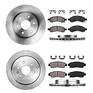 CRK14002 FRONT 325mm + REAR 331mm Premium 6 Lug [4] Rotors + Brake Pads + Clips [fit Chevy Enclave GMC Traverse Acadia]
