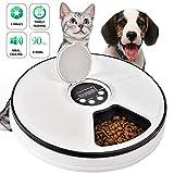 Logeeyar Distributeur Automatique de Nourriture pour Chien et Chat 6 Repas par Jour avec écran numérique LCD, enregistreur...