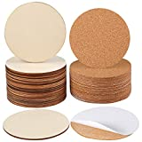 Caydo 24PCS Unfinished Round Wood Circle Pieces and 24PCS Round Self-Adhesive Corks for Wooden Coasters, DIY Crafts and Home Decoration, 4 Inch