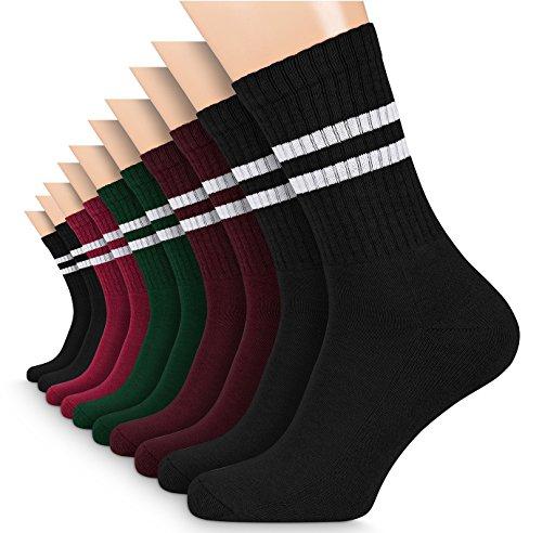 FLINK Herren Damen Crew Socks Socken mit Streifen Baumwolle Mehrfarbig 39-42 (5 Paar) | Beste Qualität & Lange Haltbarkeit | Schwarz Rot Pink Grün