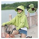 Sombrero para el sol Mujer verano sombrero playa eléctrico sombrilla abrigo ropa verano al aire libre moda corto ciclo desgaste mujeres ropa protectora de sol ( Color : Apple green , Size : One Size )