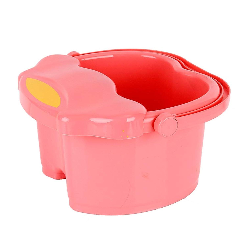 性交市長医療過誤子供マッサージ浴槽ふた足風呂バレル小さな断熱スパボウル付きプラスチック足洗面台 (Color : Pink)