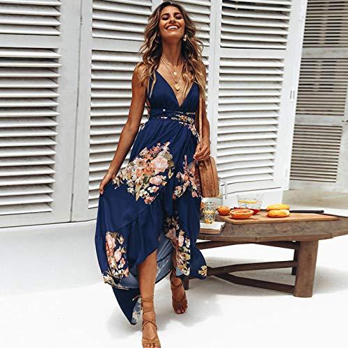 RKWEI Vestido De Mujer Women Summer Floral Printed Long Backless Sleeveless Sexy Deep V-Neck Spaghetti Strap Slit Beach Dress-Darkblue_L