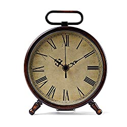 Konigswerk 8 Inches Table Top Clock, Retro Analog Battery Operated Metal Desk Clock for Living Room Decor Shelf (Brown)