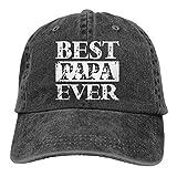Uosliks Unisex Pigmento teñido Denim Baseball Caps Best Papa Ever Sun Visor Sombreros Ajustables Snapback