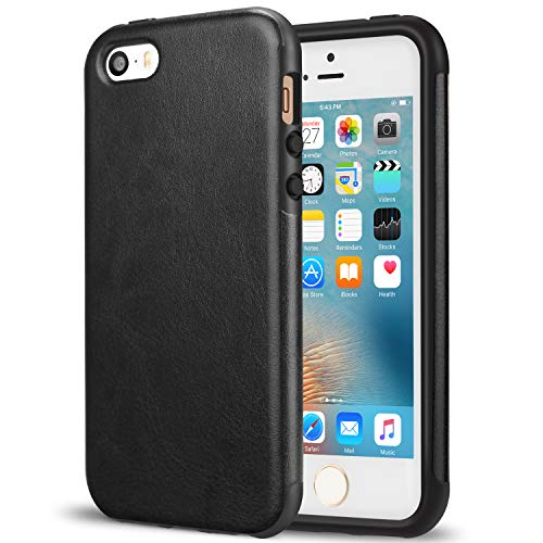 TENDLIN iPhone SE Case [Good Protection] Premium Leather Back Flexible TPU Silicone Hybrid Arc Bumper Shockproof Case for iPhone SE and iPhone 5S / 5 (Black)