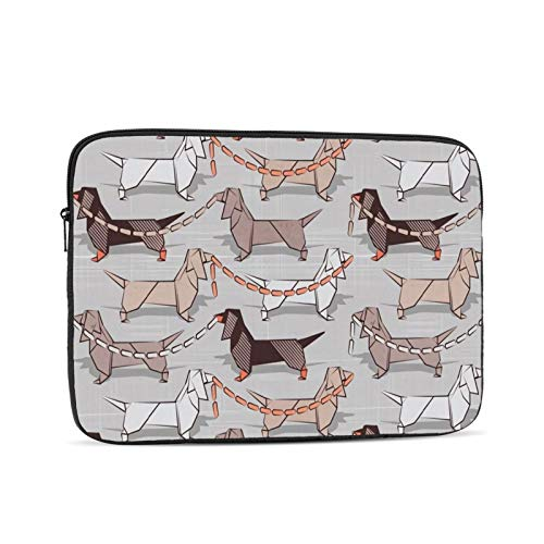 Laptop Sleeve Bag Origami Dachshunds Sausage Dogs Small Scale Grey Linen Texture Background_925 Portable Zipper Tablet Cover Bag Notebook Computer Protective Bag,Black