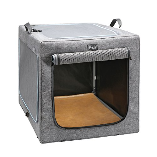 Petsfit 30x20x19 Inches Travel Pet Home Indoor/Outdoor for Medium Dog Steel Frame Home,Collapsible Soft Dog Crate(Gray)