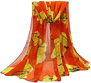DIEBELLAU Cotton and Linen Printed Scarf Bali Yarn Ladies Silk Scarf Beach Towel Wild Warm Cotton Shawl (Color : Orange)