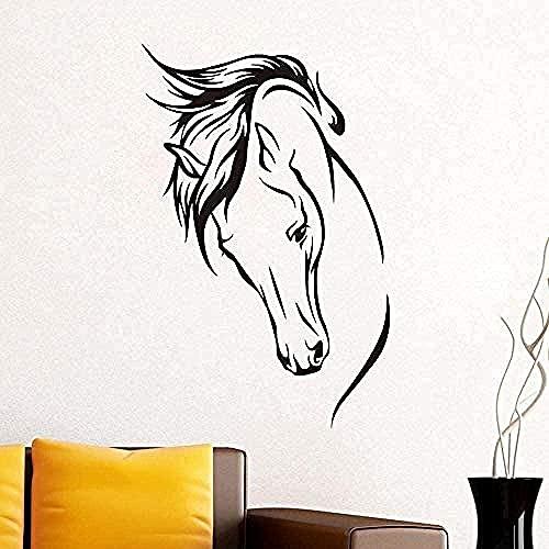 wwhhh pegatinas de pared cabeza de caballo dormitorio sala de estar protección del medio ambiente tamaño 44 * 69Cm