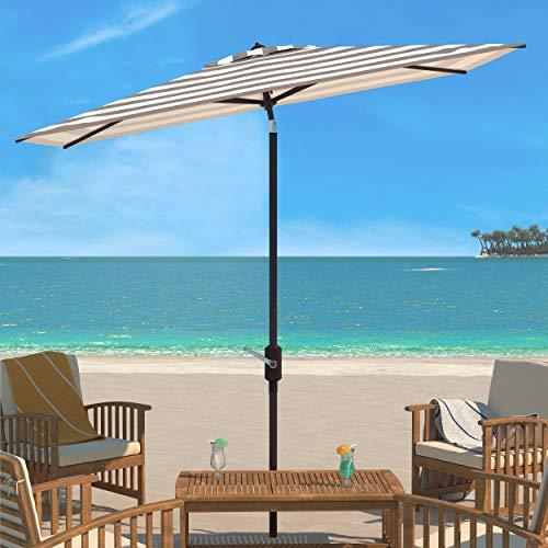 "Outdoor Iris Fashion Line Grey and White 6'6"" x 10' Rectangle UV Protected Umbrella - Safavieh PAT8304D"