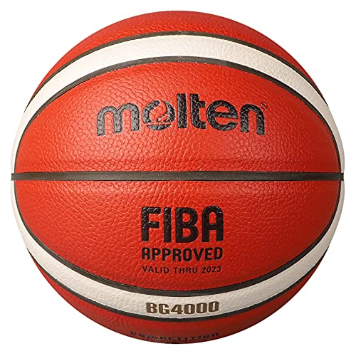 Molten BG4500 Pallone da basket per interni con certificazione FIBA Ufficiale BBL Game Ball Premium in pelle composita, adatto per ragazzi di età 14 anni o per adulti
