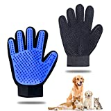 Pet Grooming Glove - Gentle Pet Hair Remover Mitt - True Touch Deshedding Glove for Cats, Dogs for Long & Short Fur - Enhanced Five Finger Design for Cat Grooming Gloves Brush(One Pair)