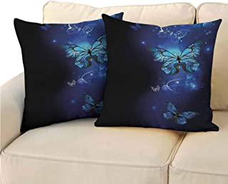 QIAOQIAOLO Pack of 2 Sofa Hug Pillowcase Dark Blue Double-Sided Printing 24x24 inch Fantasy Magical Butterflies Monarch Artistic Morpho Inspiration Animal Cobalt Blue Black