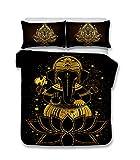 Stillshine Funda nórdica 180x220 Budismo Zen Creativo Mandala Estatua de Buda Negro Dorado Imprimiendo Ropa de Cama 90/105 Anti-Humedad, Anti-ácaro, Suave y cómodo